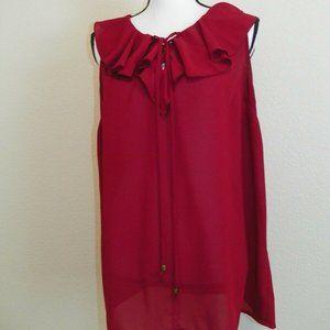 Burgundy Red Summer Sleeveless Top Light Long